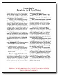 Instructions for Completing the Id Theft... by