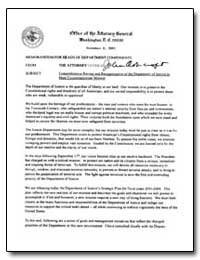 Comprehensive Review and Reorganization ... by Office of the Attorney General, Washington D. C.