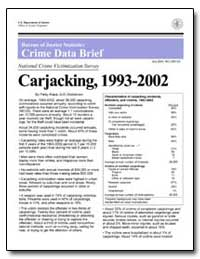 Carjacking, 1993-2002 by Klaus, Patsy A.