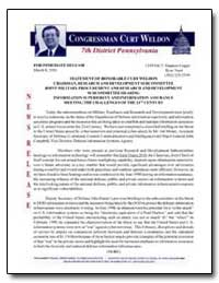 Statement of Honorable Curt Weldon Chair... by Cragin, Maureen