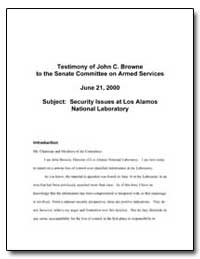 Security Issues at Los Alamos National L... by Browne, John C.