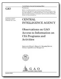 Intelligence Agency Observations on Gao ... by Hinton, Henry L.