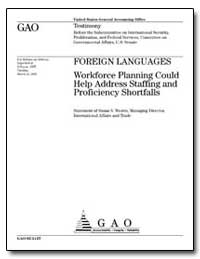 Foreign Languages Workforce Planning Cou... by Westin, Susan S.