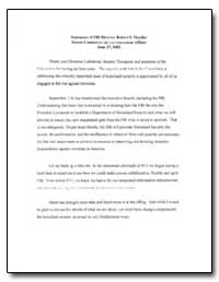 Statement of Fbi Director Robert S. Rlue... by Lueller, Robert S.