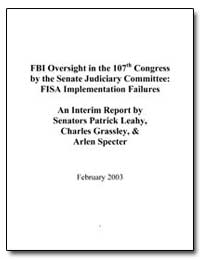 Fbi Oversight in the 107Th Congress by t... by Leahy, Patrick