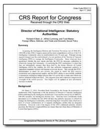 Crs Report for Congress Received through... by Best, Richard A., Jr.