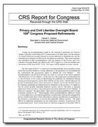 Crs Report for Congress Received through... by Relyea, Harold C.