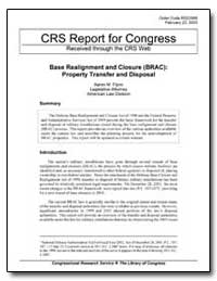 Crs Report for Congress Received through... by Flynn, Aaron M.