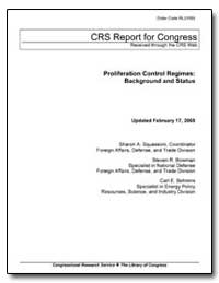 Crs Report for Congress Received through... by Squassoni, Sharon A.