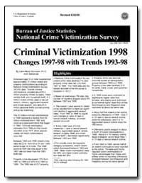 Criminal Victimization 1998 Changes 1997... by Rennison, Callie Marie, Ph. D.