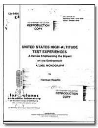 United States High-Altitude Test Experie... by Hoerlin, Herman