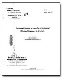 Continued Studies of Long-Term Ecologica... by Hanson, Wayne C.