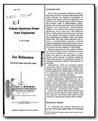 Pulsed Electrical Power from Explosives by Fowler, C. M.
