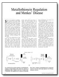 Metallothionein Regulation and Menkes Di... by