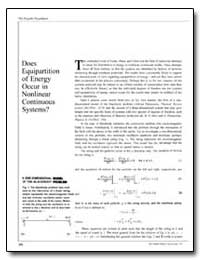 Does Equipartition of Energy Occur in No... by