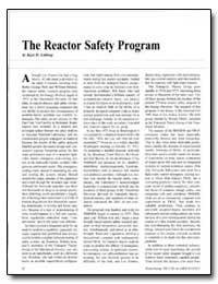 The Reactor Safety Program by Lathrop, Kaye D.