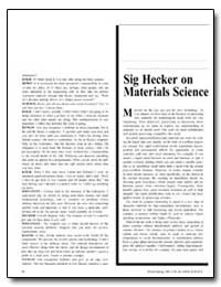 Sig Hecker on Materials Science by