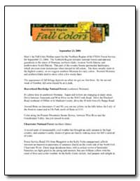 Here's the Fall Color Hotline Report for... by