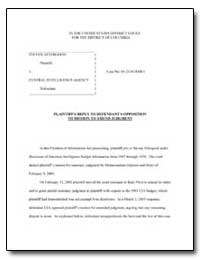 Plaintiffs Reply to Defendant's Oppositi... by Aftergood, Steven