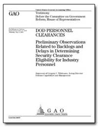 Dod Personnel Clearances Preliminary Obs... by Wilshusen, Gregory C.