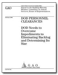 Dod Personnel Clearances Dod Needs to Ov... by Stewart, Derek B.