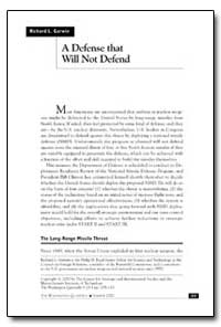 A Defense That Will Not Defend by Garwin, Richard L.