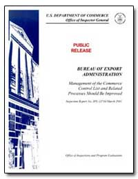 Bureau of Export Administration by Frazier, Johnnie E.
