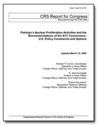 Pakistan's Nuclear Proliferation Activit... by Cronin, Richard P.