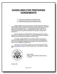 Guidelines for Preparing Agreements by Berry, Peter J.