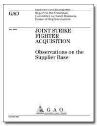 Joint Strike Fighter Acquisition Observa... by Schinasi, Katherine V.