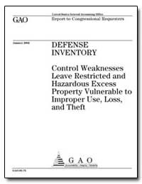 Defense Inventory Control Weaknesses Lea... by Hast, Robert H.
