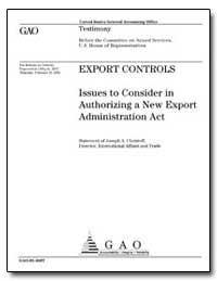 Export Controls Issues to Consider in Au... by Christoff, Joseph A., Director