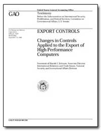 Export Controls Changes in Controls Appl... by Johnson, Harold J.