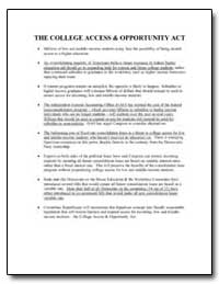 The College Access and Opportunity Act by
