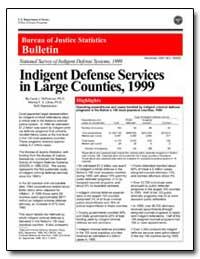 Indigent Defense Services in Large Count... by Defrances, Carol J., Ph. D.