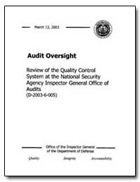 Audit Oversight Review of the Quality Co... by Brannin, Patricia A.