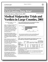 Medical Malpractice Trials and Verdicts ... by Cohen, Thomas H.