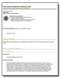 International Materials Institutes (Imi) by Huber, Carmen I.