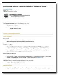 Mathematical Sciences Postdoctoral Resea... by Douglas, Lloyd E.