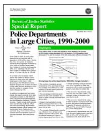 Police Departments in Large Cities, 1990... by Reaves, Brian A., Ph. D.