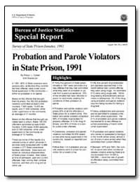 Probation and Parole Violators in State ... by Cohen, Ron L.