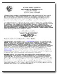 National Science Foundation Announcement... by