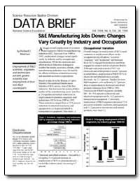 S&E Manufacturing Jobs Down: Changes Var... by Morrison, Richard E.