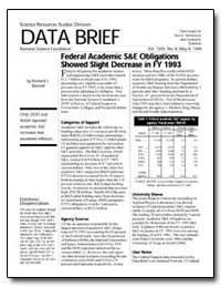 Federal Academic Sande Obligations Showe... by Bennof, Richard J.