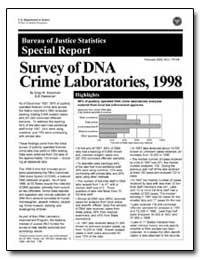Survey of Dna Crime Laboratories, 1998 by Steadman, Greg W.