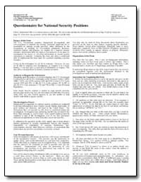 Questionnaire for National Security Posi... by