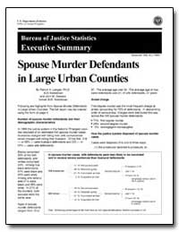 Spouse Murder Defendants in Large Urban ... by Langan, Patrick A.
