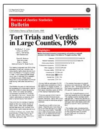 Tort Trials and Verdicts in Large Counti... by Litras, Marika F. X.