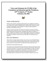 Views and Estimates for Fy2003 of the Co... by