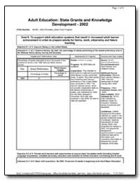 Adult Education : State Grants and Knowl... by Department of Education